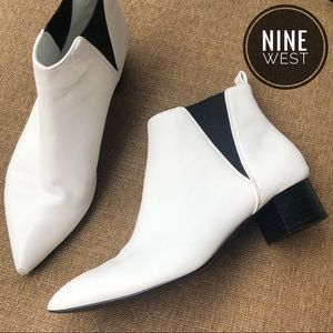 Nine West White Pull-On Pointed Toe Ankle Booties